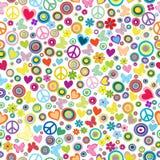 Teste padrão sem emenda do fundo de flower power com flores, sig da paz Fotografia de Stock Royalty Free