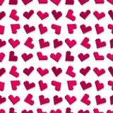 Teste padrão sem emenda do fundo do coração cor-de-rosa do pixel Foto de Stock
