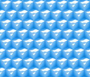Teste padrão sem emenda do fundo do sumário 3d feito de uma disposição de cubos com ondulações em azul e em branco Imagens de Stock