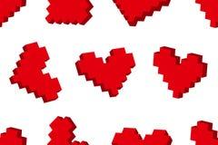Teste padrão sem emenda do fundo dos corações do pixel Foto de Stock Royalty Free