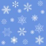 Teste padrão sem emenda do fundo dos flocos de neve azuis Imagens de Stock Royalty Free