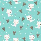Teste padrão sem emenda do gatinho e do rato Imagens de Stock Royalty Free