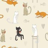Teste padrão sem emenda do gato Imagens de Stock