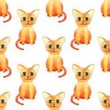 Teste padr?o sem emenda do gato bonito da aquarela no bacground branco imagem de stock royalty free
