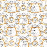 Teste padrão sem emenda do gato e dos ratos no branco Imagens de Stock Royalty Free