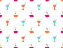 Teste padrão sem emenda do gelado, caneca de café Ícones no fundo branco Vetor ilustração stock