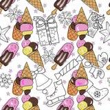 Teste padrão sem emenda do gelado Vetor desenhado mão Ilustração Royalty Free