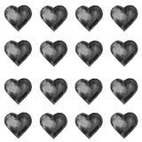Teste padrão sem emenda do Grunge com corações pretos pintados à mão Fotografia de Stock Royalty Free