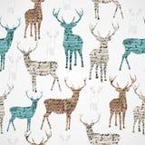 Teste padrão sem emenda do grunge da rena do vintage do Feliz Natal. Imagens de Stock Royalty Free