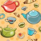 Teste padrão sem emenda do grupo de chá Fotografia de Stock