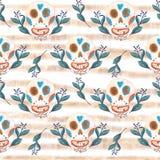 Teste padr?o sem emenda do guache dos cr?nios mexicanos e de flores azuis com listras douradas ilustração royalty free