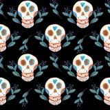 Teste padrão sem emenda do guache dos crânios mexicanos e do preto azul das flores ilustração stock