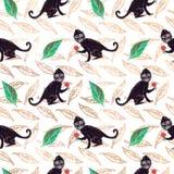 Teste padrão sem emenda do guache do macaco do preto de Frida com verde e folhas do ouro ilustração royalty free