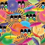 Teste padrão sem emenda do guarda-chuva japonês da menina da boneca Imagem de Stock Royalty Free