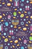 Teste padrão sem emenda do Hanukkah ilustração do vetor