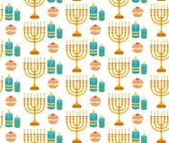 Teste padrão sem emenda do Hanukkah Fundo de Hanukkah com Menorah Imagens de Stock Royalty Free