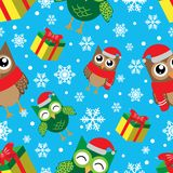 Teste padrão sem emenda do inverno com flocos de neve, corujas e presentes Ilustração do ano novo feliz e do vetor do Feliz Natal ilustração stock