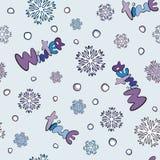 Teste padrão sem emenda do inverno com flocos de neve e neve Fotos de Stock Royalty Free