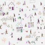 Teste padrão sem emenda do inverno com os povos que andam na cidade ilustração stock