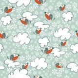 Teste padrão sem emenda do inverno com pássaros de voo Foto de Stock