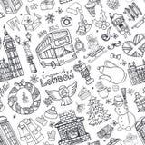 Teste padrão sem emenda do inverno de Londres Doodles do Natal preto ilustração stock