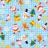 Teste padrão sem emenda do inverno dos flocos de neve de Santa do Natal Fotografia de Stock Royalty Free