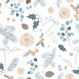 Teste padrão sem emenda do inverno elegante Ilustração do vetor Paleta pastel fotografia de stock royalty free