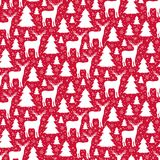 Teste padrão sem emenda do inverno Fundo vermelho do Natal Vetor ilustração royalty free