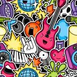 Teste padrão sem emenda do kawaii do partido da música Instrumentos musicais, símbolos e objetos no estilo dos desenhos animados ilustração do vetor