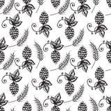 Teste padrão sem emenda do lúpulo e da cevada no fundo branco Ilustração Royalty Free