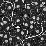 Teste padrão sem emenda do laço com a framboesa no fundo preto Imagens de Stock Royalty Free
