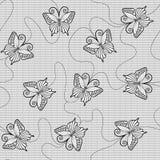 Teste padrão sem emenda do laço preto com borboletas Imagens de Stock Royalty Free