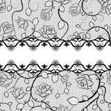 Teste padrão sem emenda do laço preto com rosas Imagens de Stock