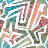 Teste padrão sem emenda do labirinto com fundo do triângulo Fotos de Stock Royalty Free