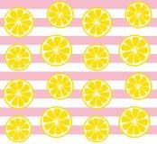 Teste padrão sem emenda do limão com listras cor-de-rosa Fotografia de Stock