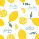 Teste padrão sem emenda do limão com rotulação no fundo branco Ilustração do vetor imagens de stock