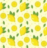 Teste padrão sem emenda do limão Fundo infinito da limonada, textura Frutifica o fundo Ilustração do vetor Fotos de Stock Royalty Free