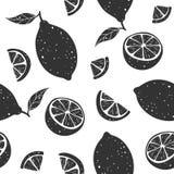 Teste padrão sem emenda do limão preto no fundo branco Ilustração do vetor fotografia de stock