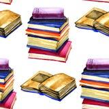 Teste padrão sem emenda do livro aberto da aquarela no fundo branco textura da aquarela De volta à escola ilustração stock