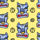 Teste padrão sem emenda do lobo irritado Foto de Stock Royalty Free