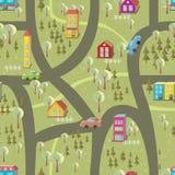 Teste padrão sem emenda 2 do mapa dos desenhos animados Foto de Stock Royalty Free