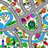 Teste padrão sem emenda do mapa dos desenhos animados Fotografia de Stock Royalty Free