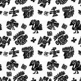 Teste padrão sem emenda do maya Elementos étnicos preto e branco ilustração royalty free