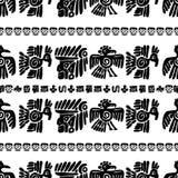 Teste padrão sem emenda do maya Elementos étnicos preto e branco ilustração stock