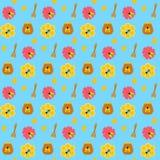 Teste padrão sem emenda do mel e da abelha Imagens de Stock Royalty Free