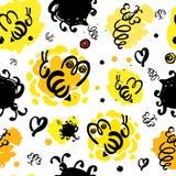 Teste padrão sem emenda do mel e das abelhas ilustração do vetor