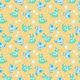 Teste padrão sem emenda do miúdo com os cães do azul dos desenhos animados Fotografia de Stock