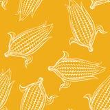 Teste padrão sem emenda do milho doce no fundo amarelo ilustração do vetor