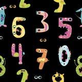 Teste padrão sem emenda do monstro dos dígitos, Fotografia de Stock