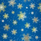 Teste padrão sem emenda do Natal azul com flocos de neve dourados Fundo do Natal e do ano novo Vetor ilustração royalty free